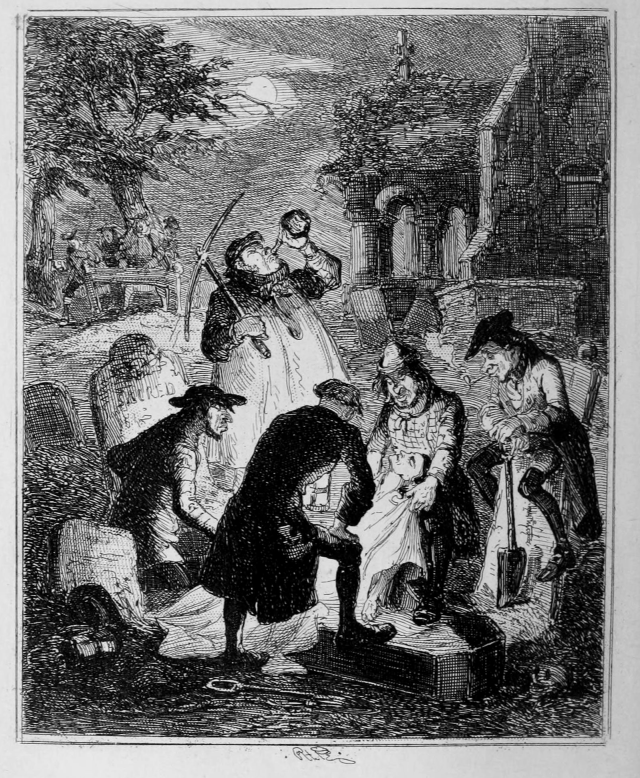 UNSPECIFIED - CIRCA 1754: Resurrectionists or Body Snatchers raiding cemetery to provide a cadaver for dissection. Illustration by 'Phiz' (Hablot Knight Browne) from Camden Pelham The Chronicles of Crime, London, 1887. (Image courtesy of wikicommons)