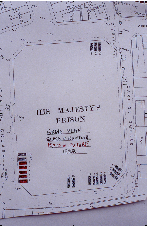 HMP Newcastle Grave Plan 1922. Copy provided by B. Redfern, courtesy of Tyne and Wear Archives.