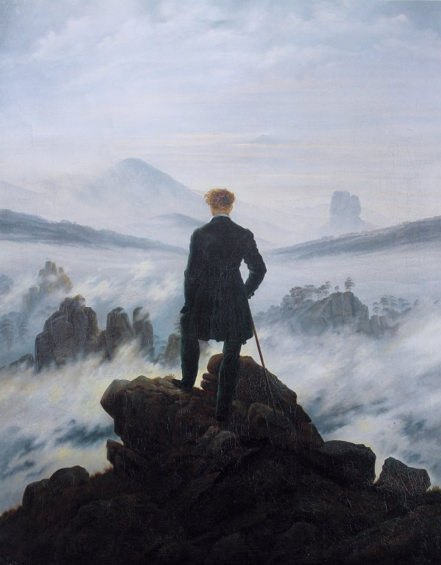 Wanderer above the sea of fog by Caspar David Friedrich. 1818
