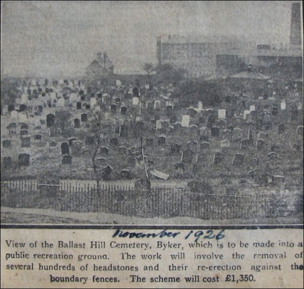 Ballast Hills Cemetary News Cutting 1926 courtesy of http://www.tynesidesilentcities.com