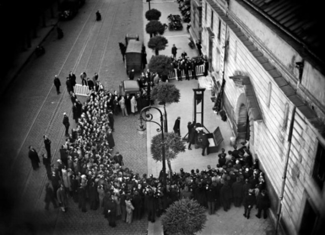 Film still from Eugen Weidmann's execution, June 17, 1939.  Courtesy of Wikimedia and www.theappendix.net