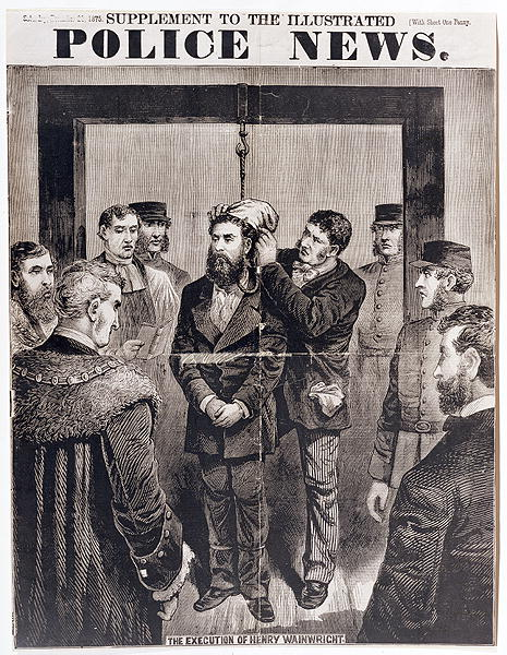 The Execution by Hanging of Henry Wainwright at Newgate Gaol on 21st December 1875, published in 'Police News', 1875 by English School
