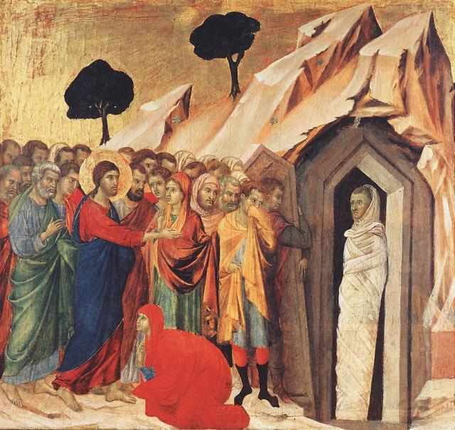 The Raising of Lazarus, by Duccio, 1310–11.