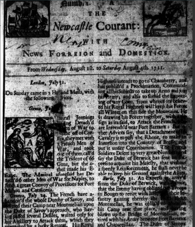 Newcastle Courant - Wednesday 01 August 1711 p.1 of 4. Courtesy of British Newspaper Archive