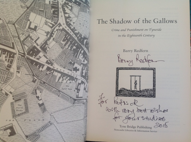 My Signed copy of Barry Redfern's Shadow of the Gallows.