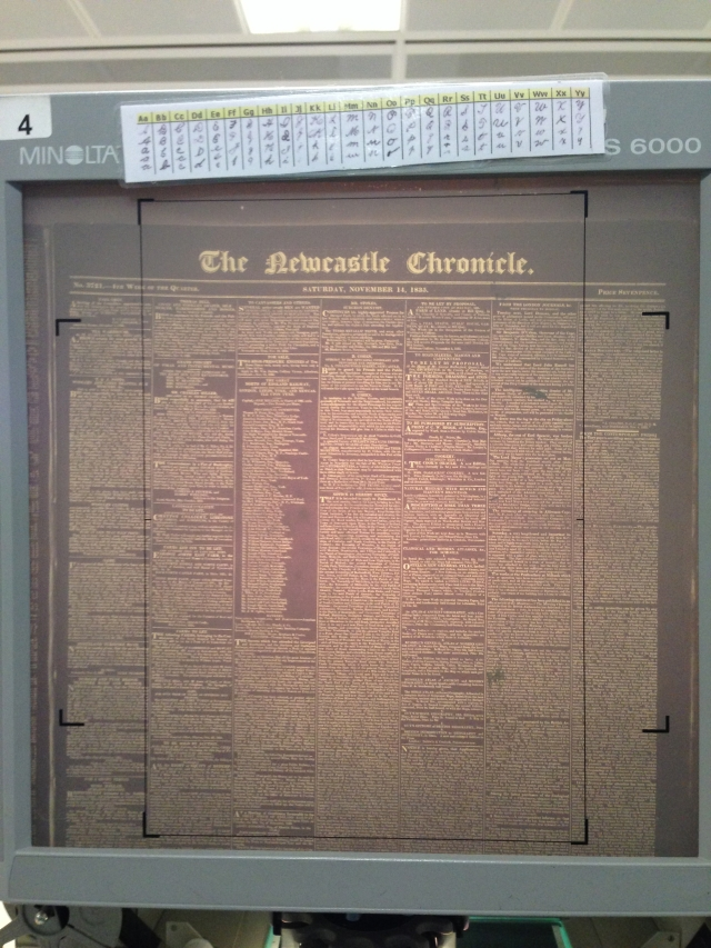 Newcastle Chronicle Microfilm. One thing you don't realise at the beginning of a PhD is how much it affects your eyesight. I'll be lucky if I can still see by the end of it!