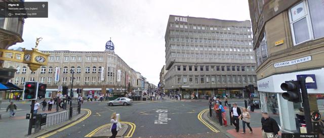 Modern day Pilgrim Street leading on to Northumberland street. Image courtesy of Google Maps.