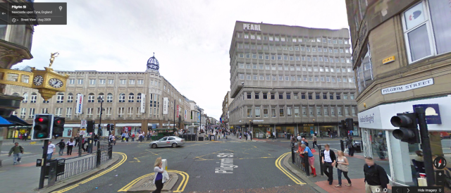 Modern day Pilgrim Street leading on to Northumberland street. Image courtesy of Google Maps.