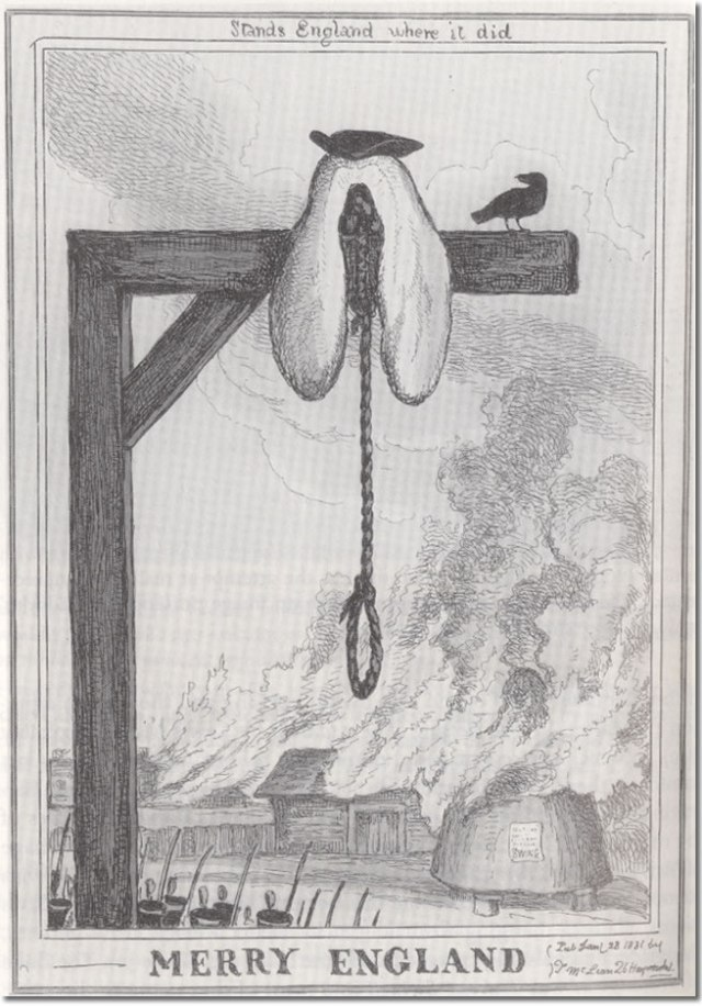 Merry England - An engraving by William Heath from 1831 showing the artist's view of justice. Taken from The Hanging Tree by Vic Gattrell. (DUL ref: 343.23 GAT). Courtesy of www.community.dur.ac.uk