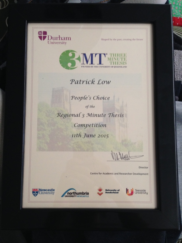 The People's Choice Award for the North East 3 Minute Thesis competition