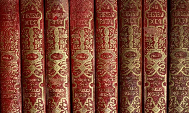 Dickens's bound copies of All the Year Round. Image courtesy of the Guardian