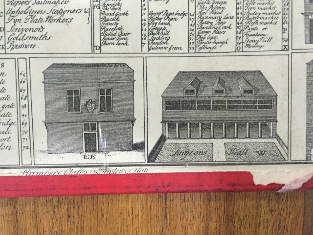 Surgeons Hall, taken from from Henry Bournes 1736 Map of Newcastle