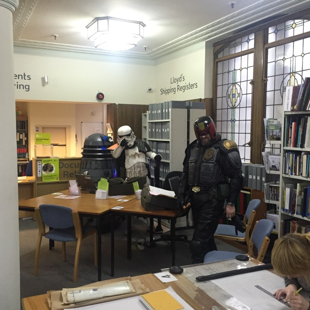Judge Dredd, A Dalek and A Stromtrooper all turned up in the Tyne and Wear Archive centre. I'm still not quite sure why.