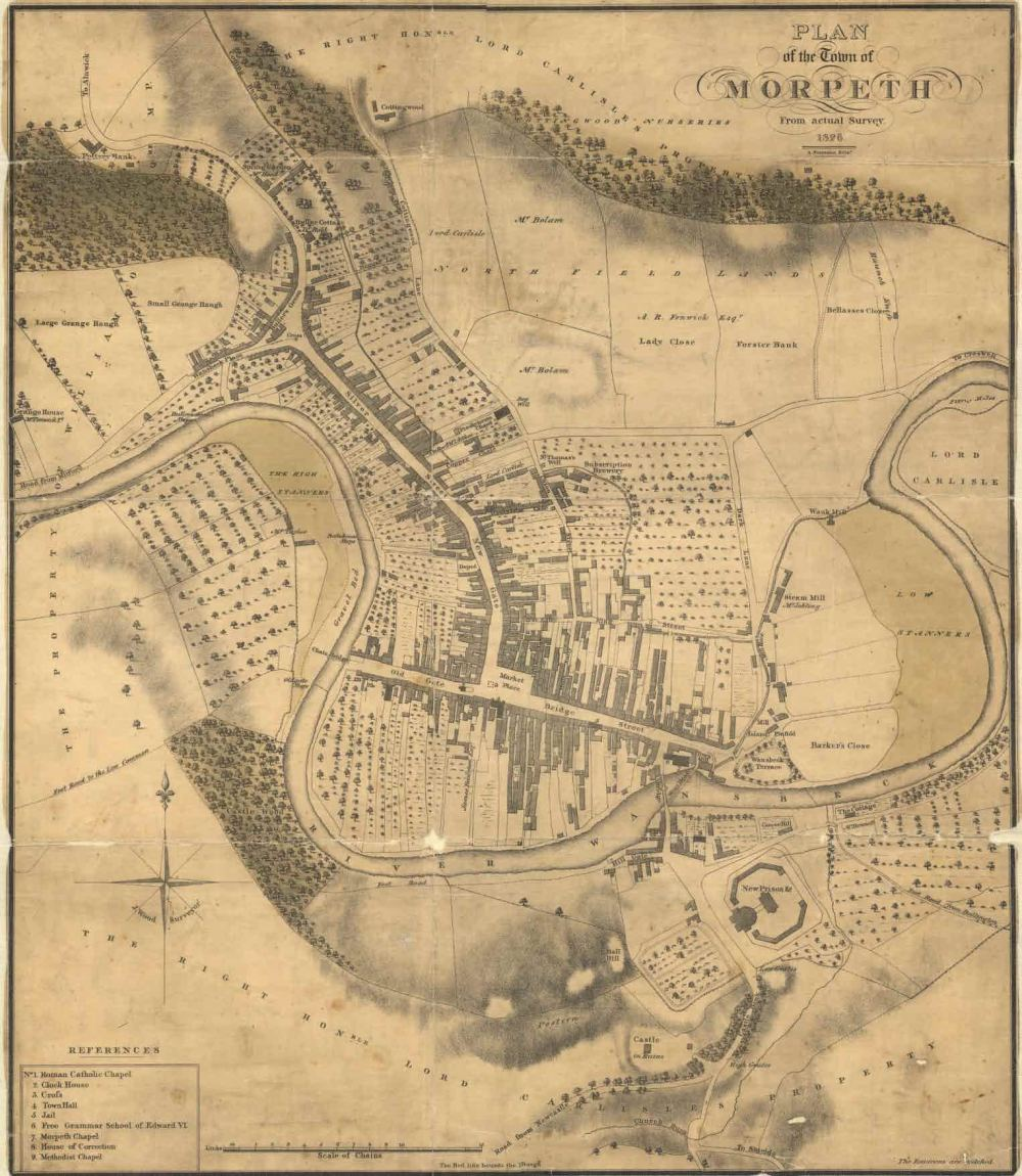 Morpeth, Woods Town Map (1826) courtesy of the Society of Antiquaries of Newcastle upon Tyne