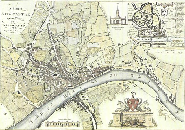 A Plan of Newcastle Upon Tyne and Gateshead 1788) engraved by J.Bielby. Courtesy of http://www.picturesofgateshead.co.uk/