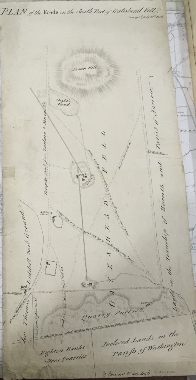 """Plan of the Roads on the South Part of Gateshead Fell"" (1805) Tyne and Wear Archives DT.BEL/2/205 http://www.tyneandweararchives.org.uk/DServe2/dserve.exe?dsqIni=Dserve.ini&dsqApp=Archive&dsqCmd=Show.tcl&dsqDb=Catalog&dsqPos=0&dsqSearch=(RefNo=%27DT.BEL/2/205%27"