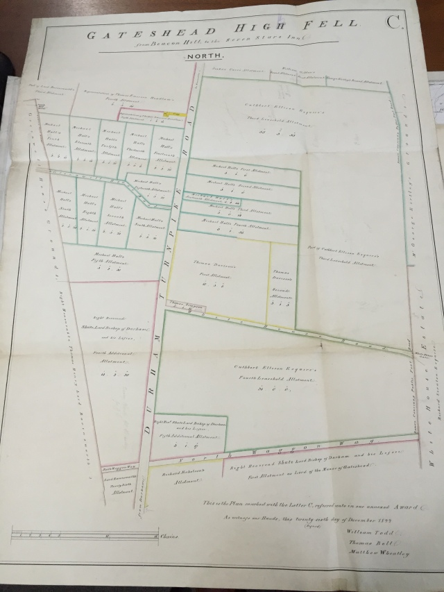 "William Todd, Thomas Bell, and Matthew Wheatley, ""Gateshead High Fell from Beacon Hill to the Seven Stars Inn,"" December 26, 1822, Thomas Bell & Sons, surveyors Plans, Tyne and Wear Archives, http://www.tyneandweararchives.org.uk/DServe2/dserve.exe?dsqIni=Dserve.ini&dsqApp=Archive&dsqCmd=Show.tcl&dsqDb=Catalog&dsqPos=0&dsqSearch=(RefNo=%27DT.BEL/2/211%27)."