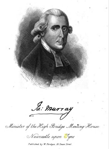 James Murray. Picture taken from the bookplate of James Murray, The Travels of the Imagination; a True Journey from Newcastle to London in a Stage-Coach: With Observations upon the Metropolis. By J Ames M Urray (J. Bumpus, 1828), 31