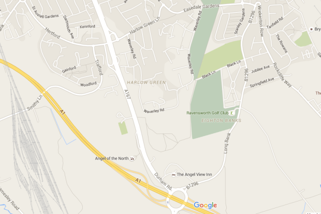 "The division of Old Durham Road and New Durham Road as it is now. Notice the winding ""Long Bank"" at the start of the Old Durham Road, mentioned above, and the almost Romanesque directness of the New Durham Road. Image courtesy of Google Maps"