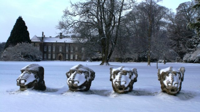 Wallington House and its imposing Gargoyle/Dragons. Image courtesy of national trust.