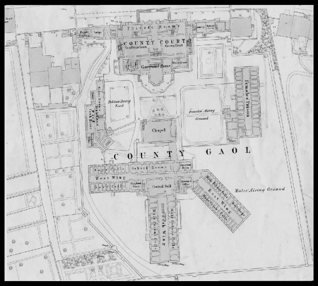 Extract from the 1st edition of the Ordnance Survey map of Durham showing the County Gaol, 1857. (Image courtesy of Durham County Record Office, ref. Durham Sheet xxvii.1.19) Click on image to enlarge. To the bottom right of the image you can see the 'South East' area of the jail where prisoners were executed.
