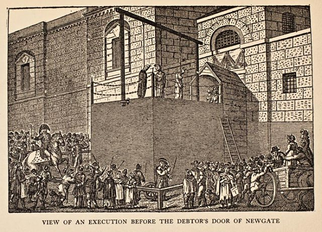 View of an execution Newgate Jail Image Courtesy of http://www.history.org/foundation/journal/Summer11/prisons/#execution