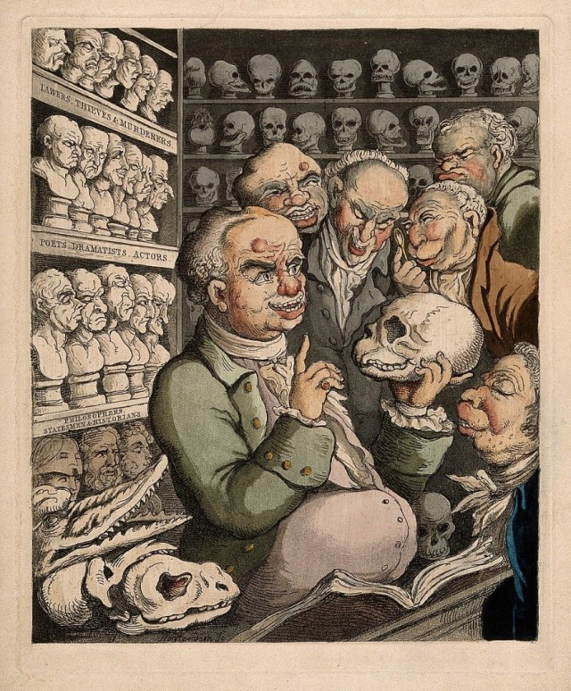 V0011105 Credit: Wellcome Library, London Franz Joseph Gall leading a discussion on phrenology with five colleagues, among his extensive collection of skulls and model heads. Coloured etching by T. Rowlandson, 1808. 1808 By: Thomas Rowlandson