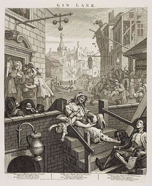 William Hogarth Gin Lane Description English: Gin Lane, from Beer Street and Gin Lane. A scene of urban desolation with gin-crazed Londoners, notably a woman who lets her child fall to its death and an emaciated ballad-seller; in the background is the tower of St George's Bloomsbury. February 1751. Image courtesy of WIkimedia Commons.