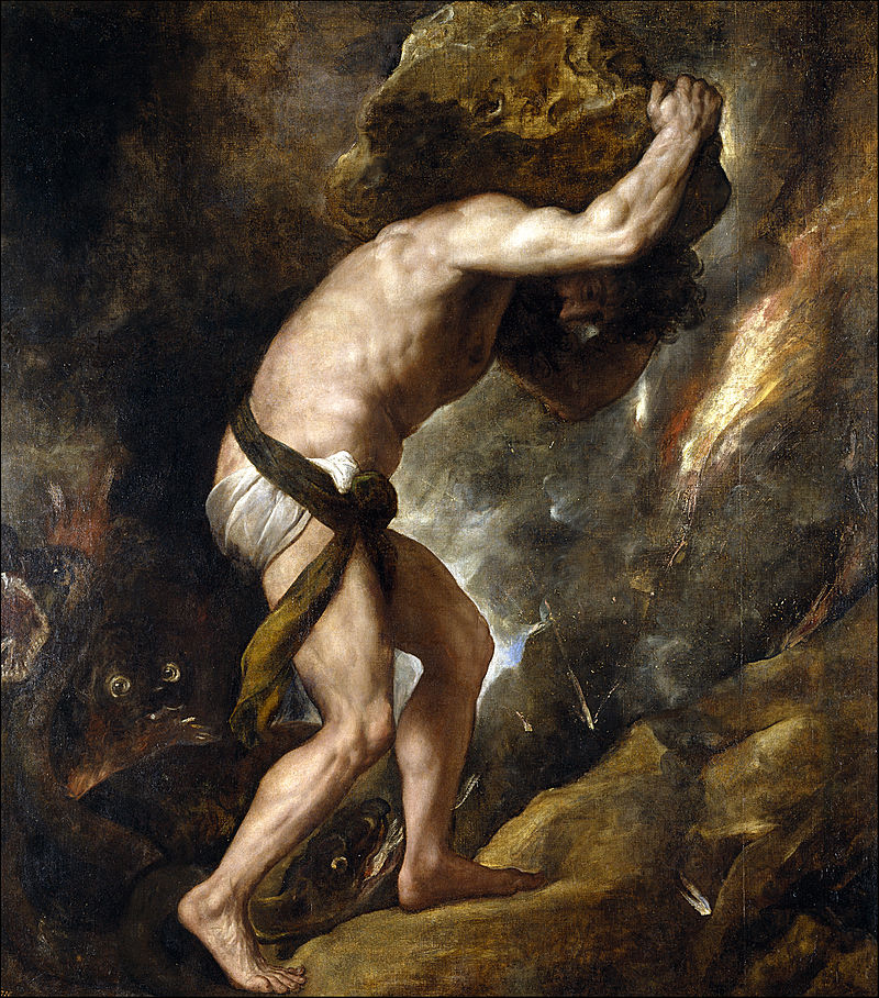 Sisyphus (1548–49) by Titian, Prado Museum, Madrid, Spain. Image courtesy of Wikimedia.